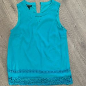 Teal blouse with scallop lace trim